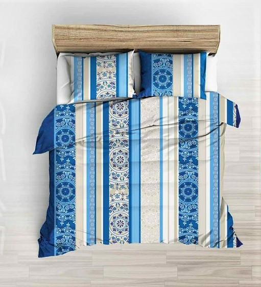 3 részes valódi pamut ágynemű extra hosszú 140x220 - kék mandala mintás. 24132da5db