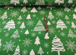 Zöld - fehér fenyőfás karácsonyi pamutvászon textília 160 cm széles