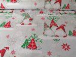 Piros - fehér karácsonyfa mintás pamut textília
