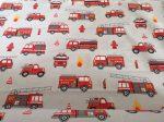 Tűzoltó autó mintás gyermek pamutvászon textília 160 cm széles