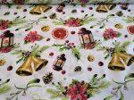 Klasszikus karácsonyi mintás piros - fehér textília